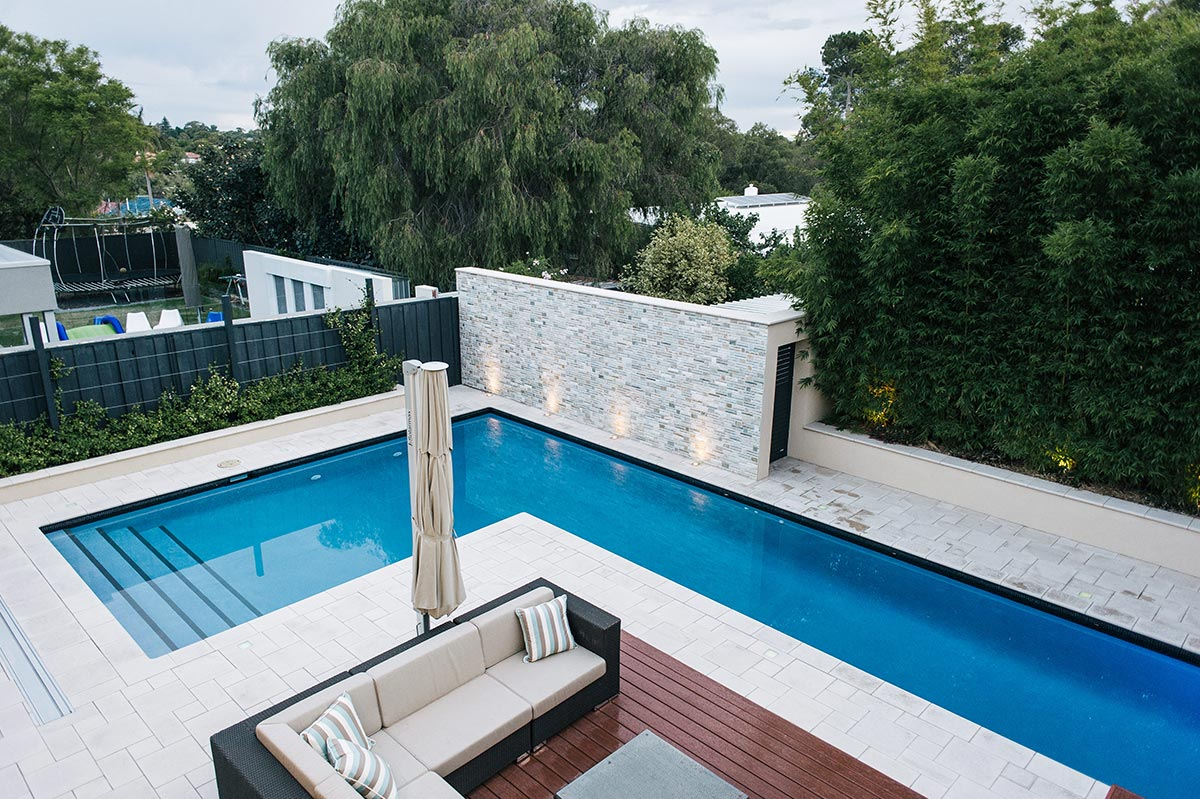 Pool decking and paving to create different textures in Perth