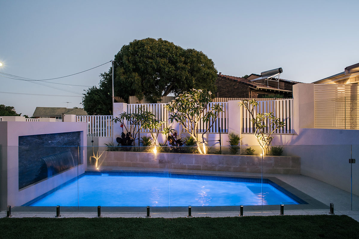 Pool lighting creates a tranquil and stunning effect