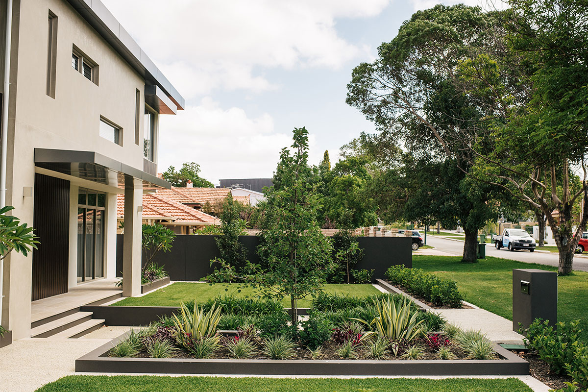 Garden beds to enhance the exterior of the home in Perth
